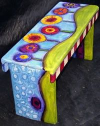 Painted bench. This looks great, I've ben recycling some old thick boards into benches similar to this and one of thems getting a paint job in this style now, thanks for the insperation ;)