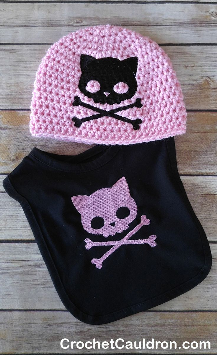 Kitty Skull and Crossbones Punk Baby Clothing Crochet Hat and Bib Set