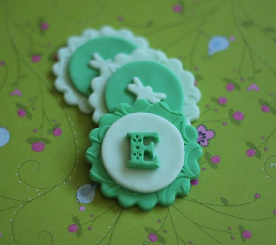Whimsical Dragonfly Initial Fondant Toppers - Perfect for Cupcakes, Cookies and Other Edible Creations via Etsy