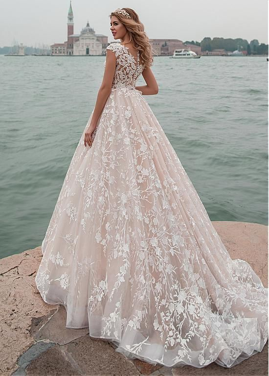 Amazing Tulle & Lace Scopp Neckline See-through Bodice A-line Wedding Dress With…