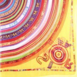 Платок шелковый прозрачный желтый с кругами