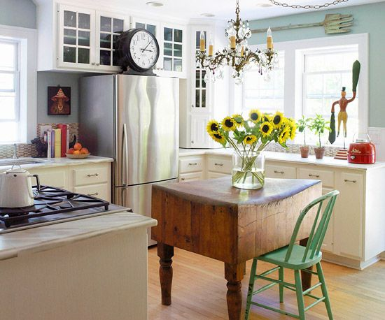 A country-style kitchen is made more personal when furnished with vintage pieces scoured from treasure hunts: http://www.bhg.com/kitchen/styles/country/country-kitchen-ideas/?socsrc=bhgpin030414fabulousfinds&page=11