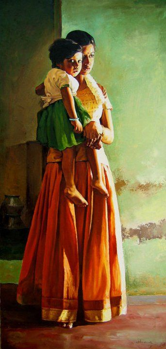Oil painting depicting a woman & child from rural India