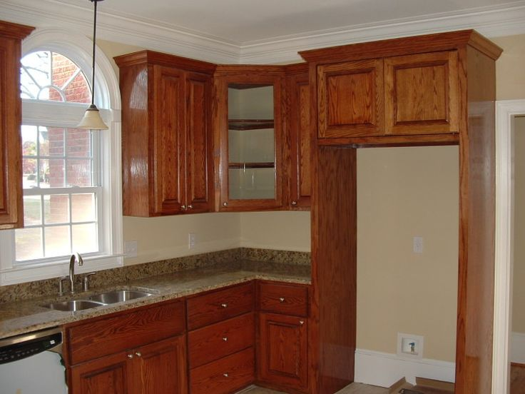 Natural Oak Brown Wood Kitchen Cabinet Design With Amazing