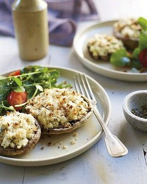 Grilled field mushrooms with thyme and feta.