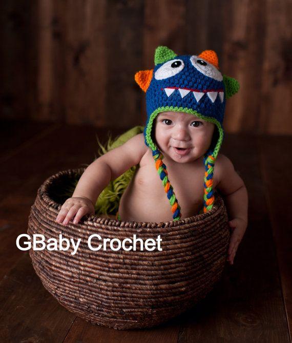 Crochet baby monster hat blue 0-5T от GBabyCrochet на Etsy