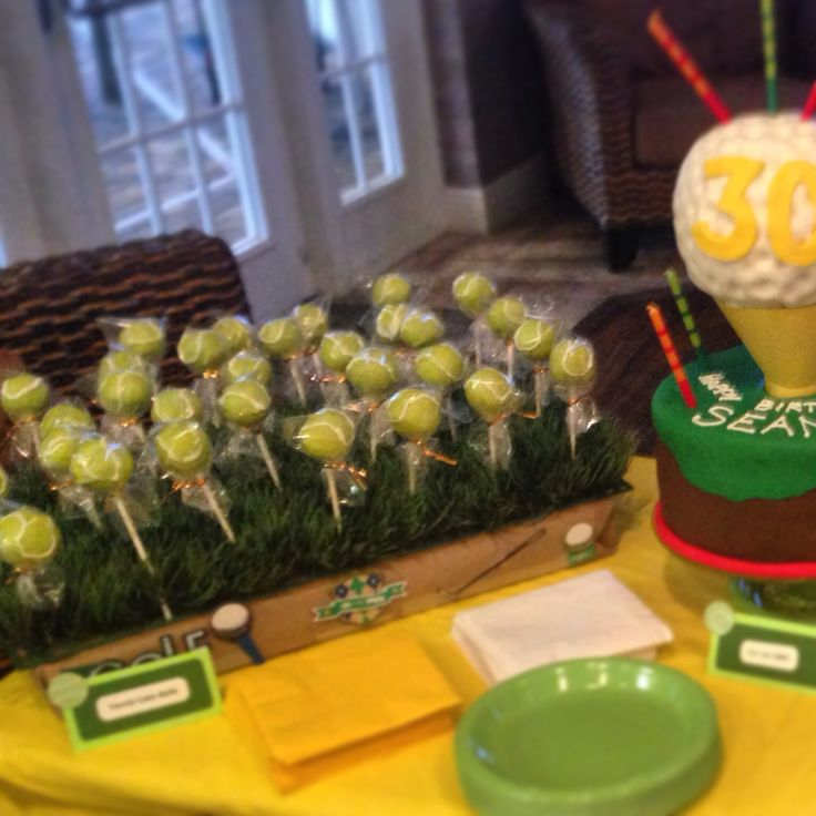 Golf and tennis theme birthday party, tennis ball cake pops and a golf ...
