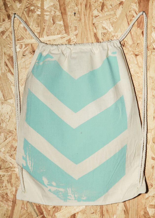 Gym Bags – Chevron turquoise gym bag, handmade screen print – a unique product by lutzepeter on DaWanda