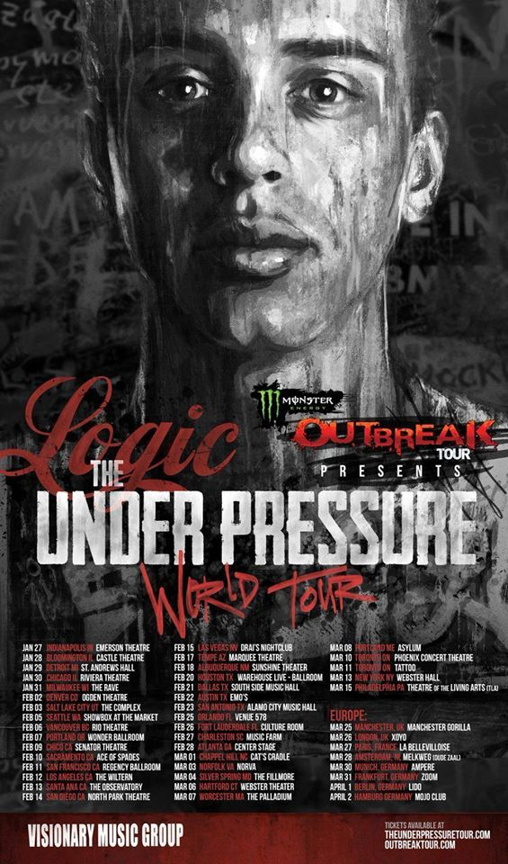 "NEWS: The hip hop artist, Logic, has announced ""The Under Pressure World Tour,"" as part of the Monster Energy Outbreak Tour. He will be supporting his debut album, Under Pressure. You can check out the dates and details at http://digtb.us/12B7ezq"