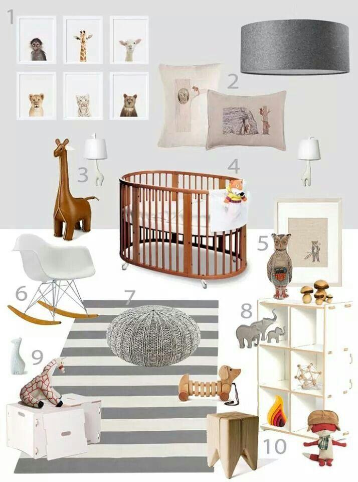 Baby's room grey white wood