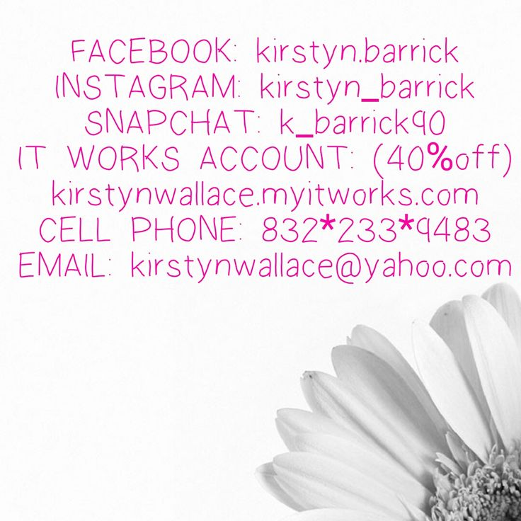 Feel free to add me on any or all of these.. I do help people make full time pay check while working part time so if you would like some information or looking for an it works distributor to get some information on a product feel free to call or text or email or even add me on social media! #socialmedia #instagram #facebook #itworks #greens #wraps # Dallas #snapchat