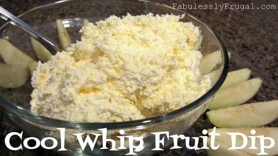 Easy to make Cool whip fruit dip 12 oz container of whipped topping and 5.1 oz box of vanilla instant pudding mix. Let the Cool Whip thaw in the fridge until you can easily combine the Cool Whip and the dry instant pudding mix. Stir the 2 ingredients together in a bowl. Then put the bowl in the fridge and let it set for a few hours or overnight. Use any desired fruit.