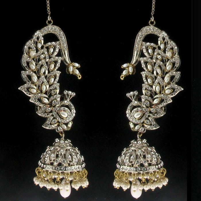 TWO TONE FAUX PEARL DIAMOND PEACOCK JHUMKI LONG EARRINGS ...