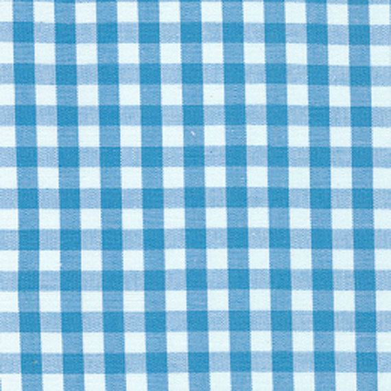 "ONE YARD Fabric Finders 1/4"" Turquoise Blue White Gingham Check Clothing Quilting Applique Fabric"