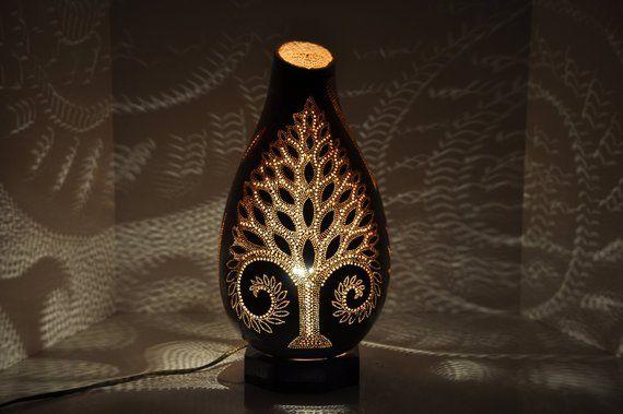 Tree Of Life Handmade Gourd Lamp Shade Calabash Vintage