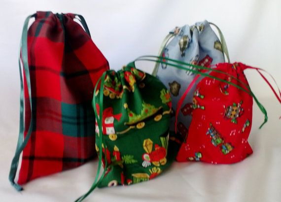 4 Fabric Christmas Gift Bags for Children Upcycled by debupcycles, $12.00