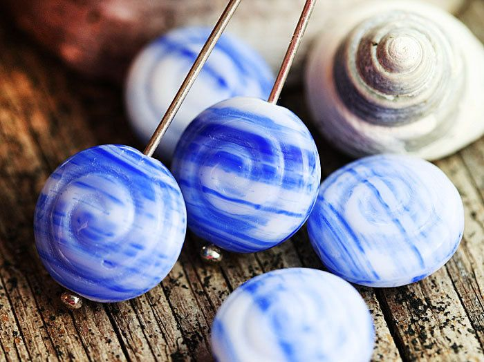 Spiral beads, Nautical white and blue shells, Czech glass, seashells, nautilus, ammonite, fossil  - 13mm - 6Pc - 1211 by MayaHoney on Etsy