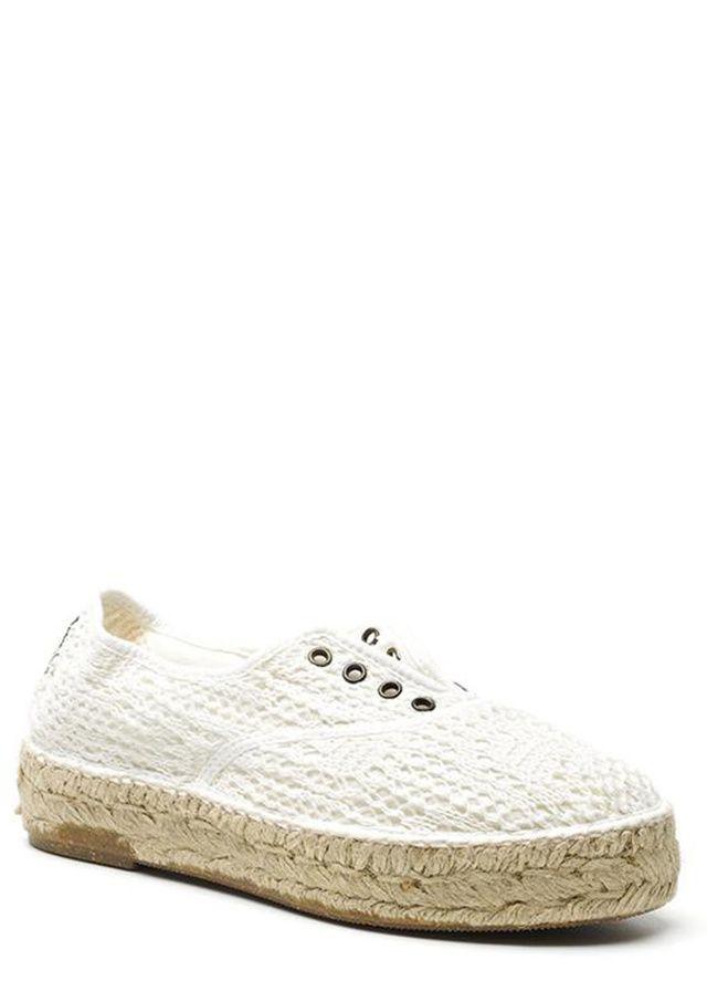 Bílé krajkové tenisky na espadrilové podrážce Natural World(103644) - 1