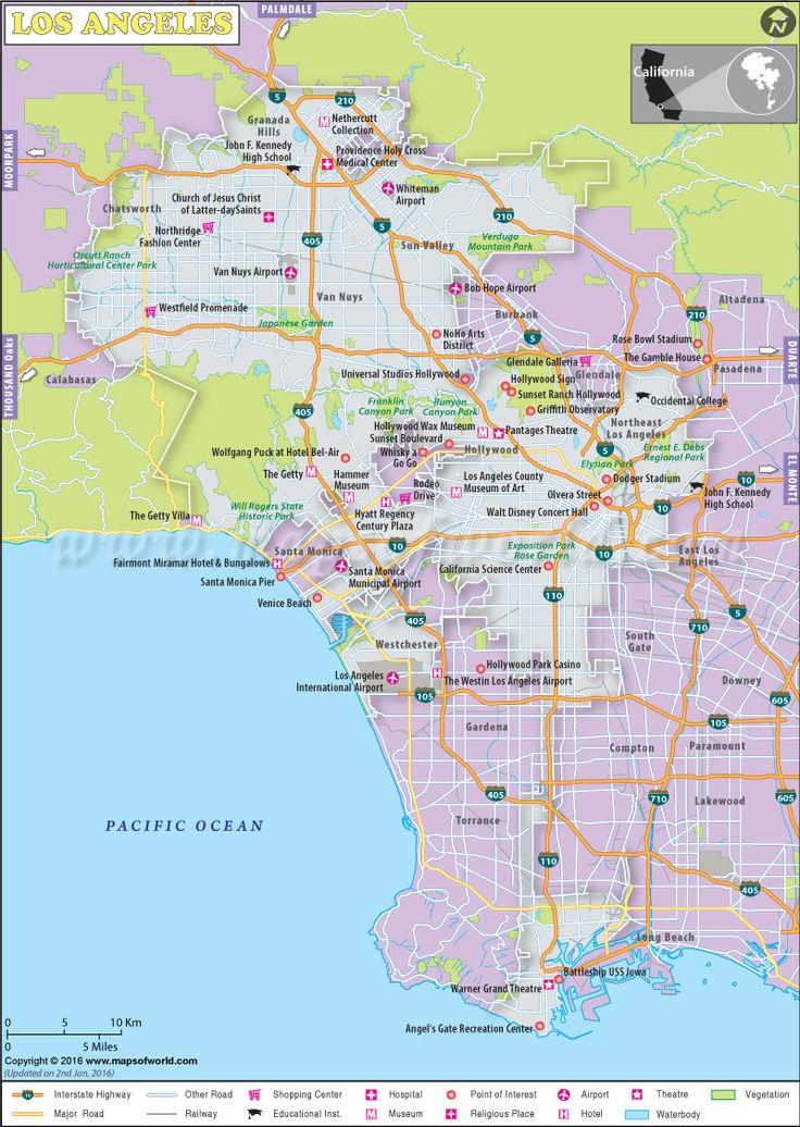 LA map - Map of Los Angeles City showing tourist places, major roads, hospitals, shopping malls, museums, golf courses, monuments, etc.