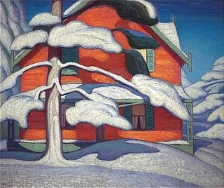 Pine Tree and Red House by Lawren Harris, 1885-1970, Canadian artist