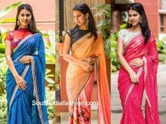 Trendy sarees with designer blouses