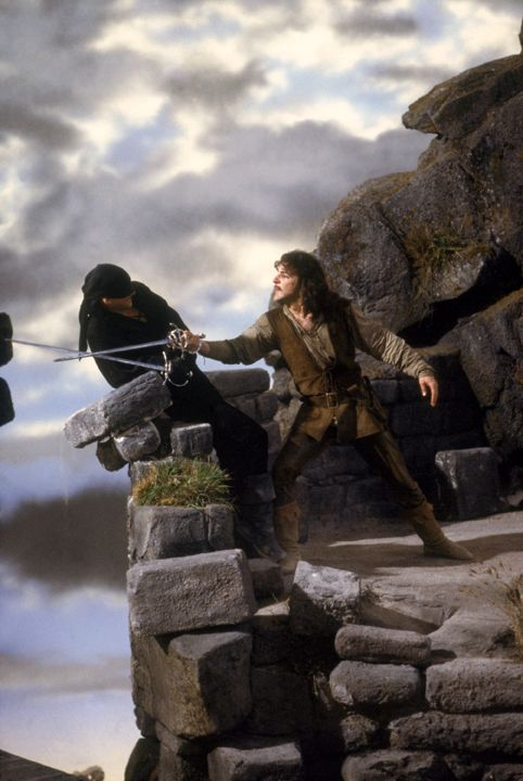 Inigo Montoya (Mandy Patinkin), Westley (Cary Elwes) and Fezzik (Andre the Giant) in The Princess Bride. Title Artwork © 1987, 2009 Twentieth Century Fox Film Corporation Photography © 1987, 2009 Act III Productions, LP All rights reserved.