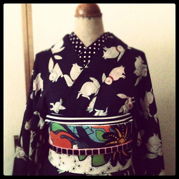 うさぎのミニョンヌ/夏きもの summer kimono