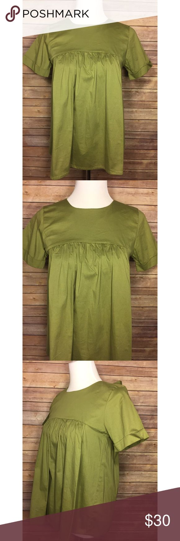 "Bobeau Green Short Sleeve Babydoll Back Tie Blouse Bobeau Womens Green XS Short Sleeve Babydoll Back Tie Blouse Top  Measurements approximately (laying flat): Underarm to underarm- 16.5"" Length- 24.5"" bobeau Tops Blouses"