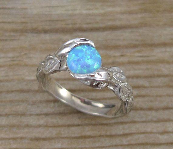 Leaf Engagement Ring Opal Engagement Ring White Gold Leaf Ring Opal Leaf R