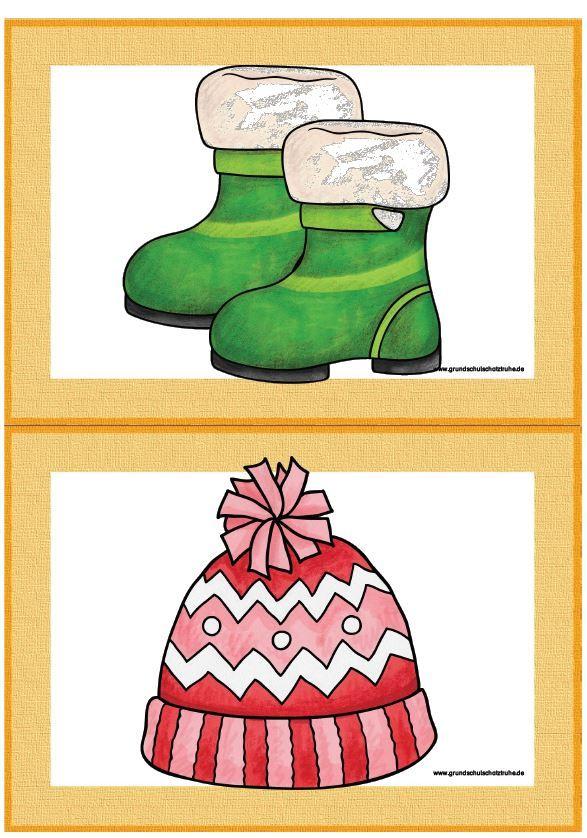 Themenpaket winter clothes Englisch Grundschule Flashcards Spiele Freiarbeitsmat…