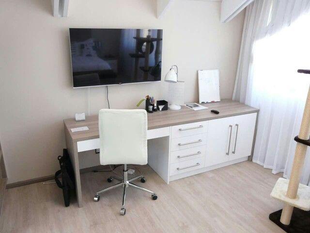 Bedroom desk setup.