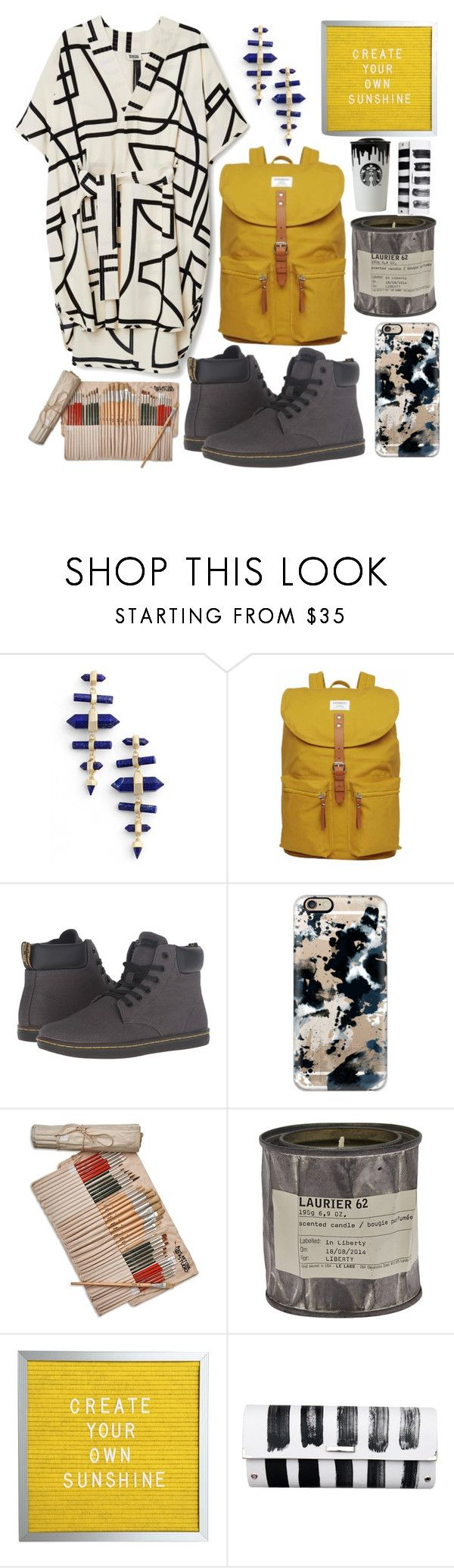 """art student"" by pembrly ❤ liked on Polyvore featuring Kendra Scott, Sandqvist, Dr. Martens, Casetify, Studio 36, Le Labo, Spanaki, backpacks, contestentry and PVStyleInsiderContest"