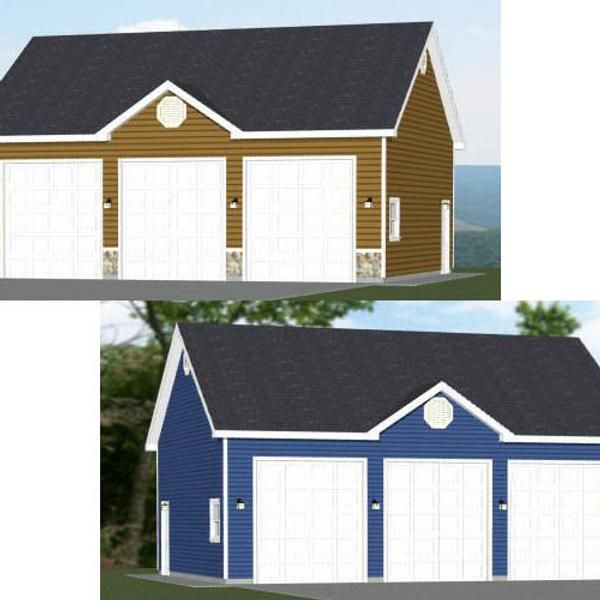 36x28 3 Car Garages 1008 Sq Ft 12ft Walls Pdf Floor Etsy In 2020 Metal Garage Buildings Car Garage 3 Car Garage