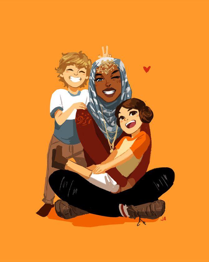 Luke, Leia, and Ahsoka as Earth humans--- THIS IS AMAZING.
