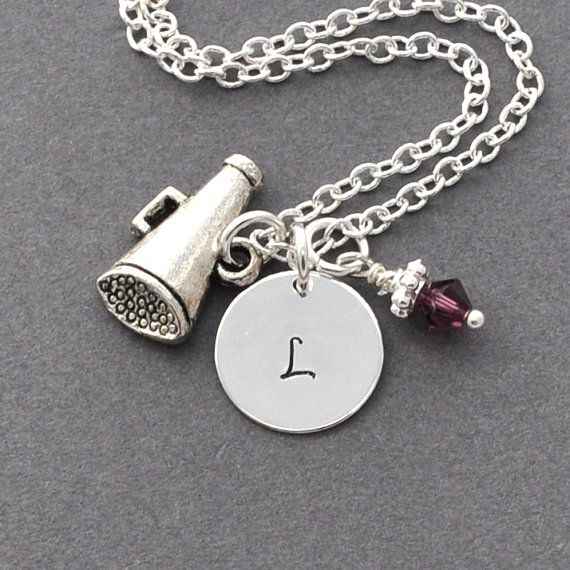 Initial Necklace Silver cheerleading megaphone Charm Personalized Initial Necklace monogram, team necklace, cheerleader, cheerleader gifts on Etsy, $19.70