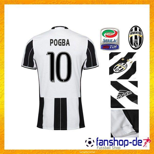 New Juventus Heimtrikot POGBA 10 Schwarz/Weiß 2016 2017 Fanshop Kaufen