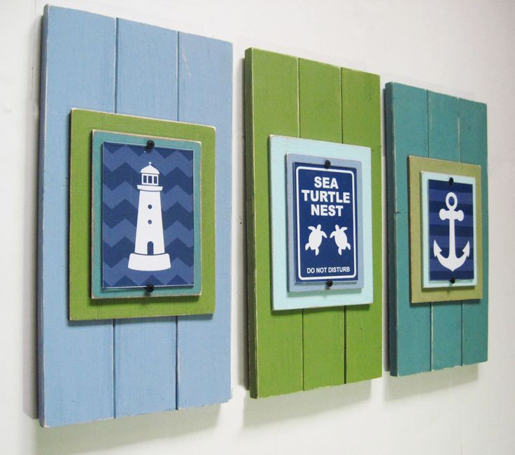 Set of 3 Fun Nautical Wall Art in Blues and Greens--framed prints. $165.00, via Etsy.