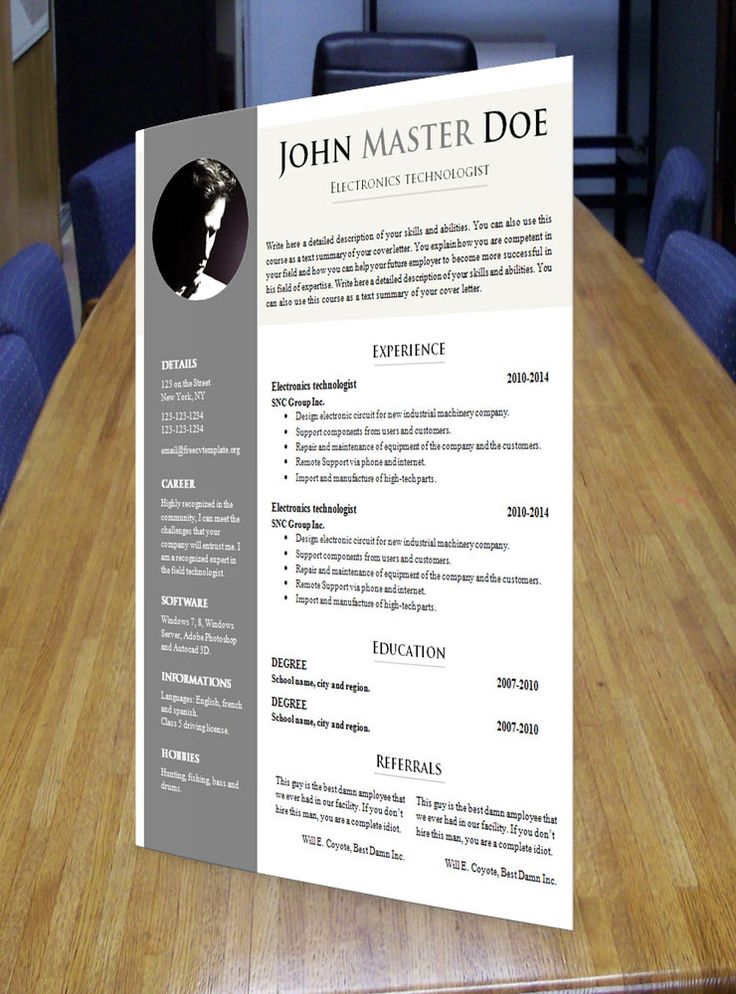 free chronological resume template%0A Make the best impression with this magnificent curriculum vitae r  sum    template  The best way to get to an interview for a new job is having the  best