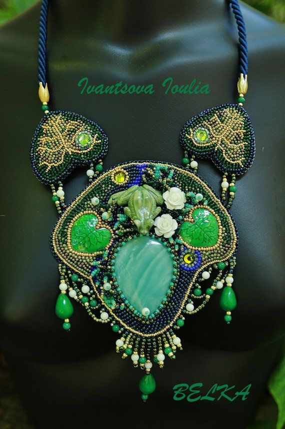 natural stone pendant handmade statement necklace bead embroidery Jasper stone necklace