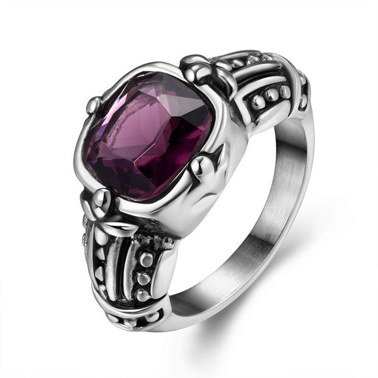 Heat Unisex Crystal Stainless Steel Chic Stylish Purple Stone Ring anel masculino US Size 8/9/10/11 Party #Affiliate