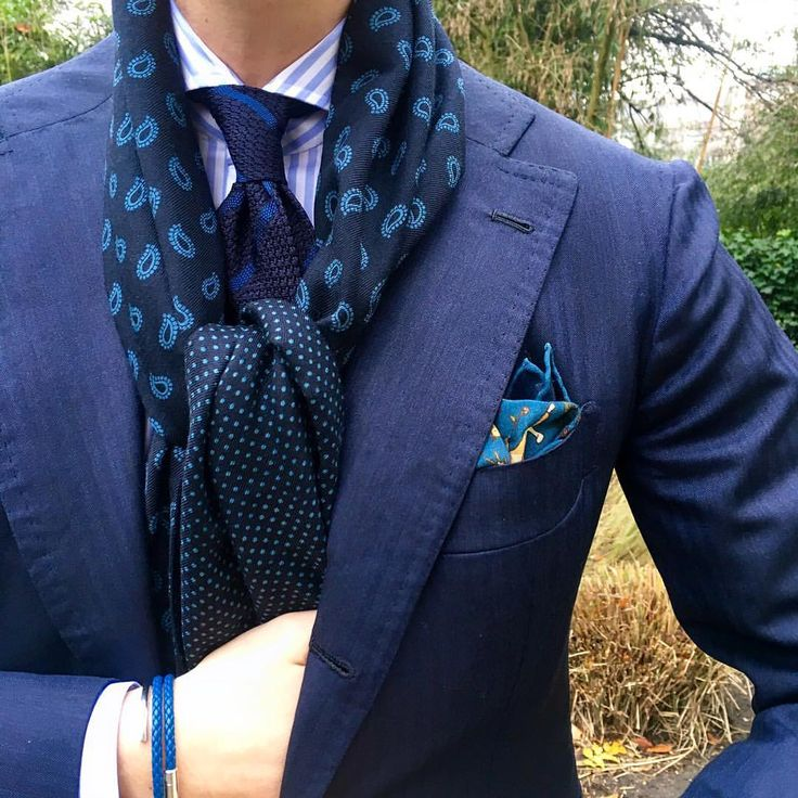 "violamilano: "" Viola Milano - All Blues… ""Classic Stripe untipped Grenadine - Navy/Blue"" tie l ""Classic Unicorn wool/Silk - Navy/Blue"" pocket square l ""Paisley/Polka Dot printed Wool/silk - Navy/Blue"" scarf l ""Classic Stripe slimline cut-away -..."