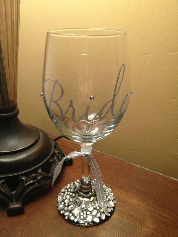 Rhinestone Wedding Wine Glass by LeahLuxe on Etsy, $28.00