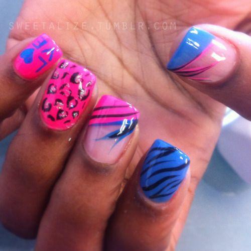 #nails #nailart #naildesign #naildesigns #abstract #art #colorful #cheetah #zebra #leopard #animal #pink