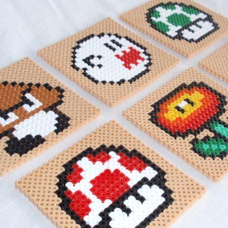 Hama-perler: Glassbrikker/coasters med Super Mario-karakterer
