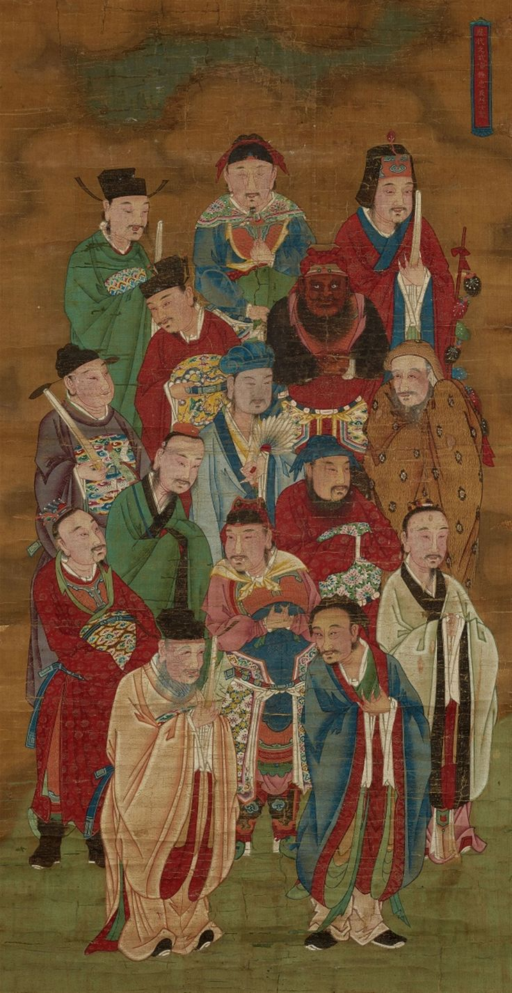 Anonymous painter, Qing dynasty, Famous figures from the Three Kingdoms (Sanguozhi), including Liu Bei with his sworn brothers Guan Yu and Zhang Fei, Zhuge Liang with his fan made of crane feathers and others. Hanging scroll. Ink and colour on silk.