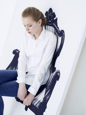 Fauteuil Canvas / Tableau trompe-l'œil - L 110 cm Noir & blanc - Innermost