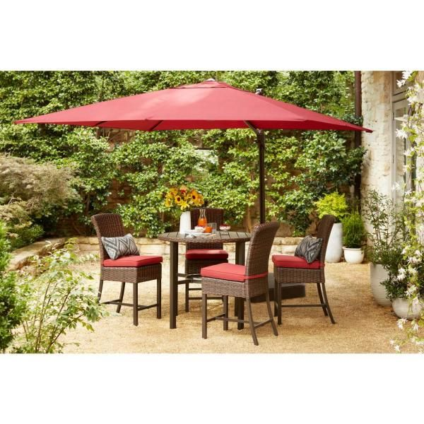 Hampton Bay 11 Ft Led Round Offset Outdoor Patio Umbrella In Chili Red Yjaf052 The Home Depot In 2020 Patio Outdoor Patio Umbrellas Patio Umbrella