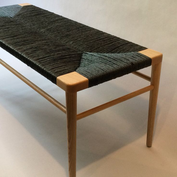 Our Rlb44 Woven Rush Bench In Ash With Black Rush