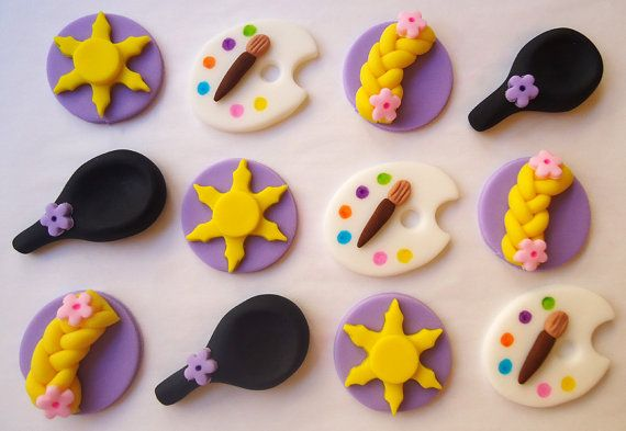 Edible Rapunzel Cupcake Toppers - Fondant Cupcake Toppers - Long Haired Princess