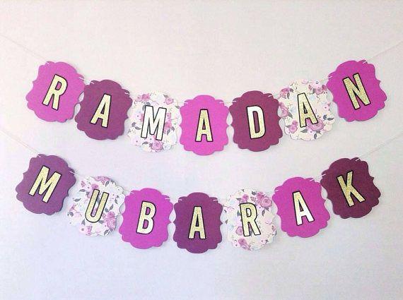 Ramadan Mubarak Banner Happy Eid Floral and Gold Bunting